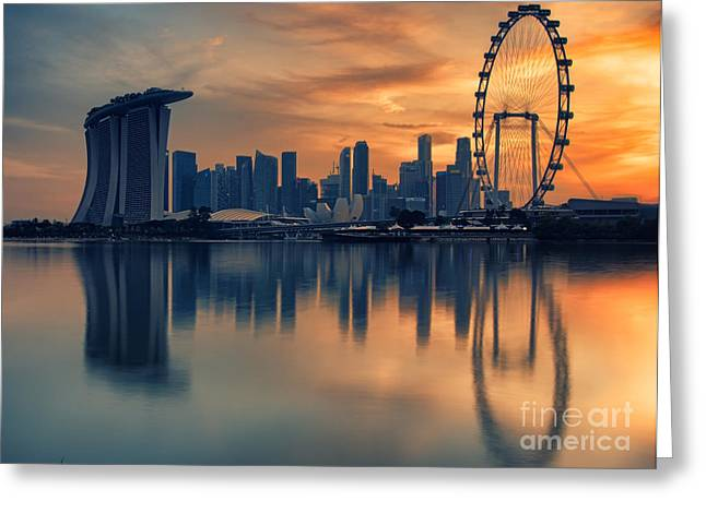Landscape Of The Singapore Greeting Card