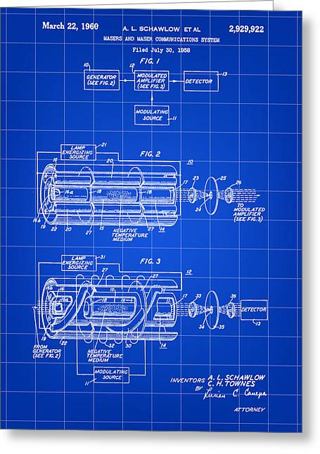 Laser Patent 1958 - Blue Greeting Card