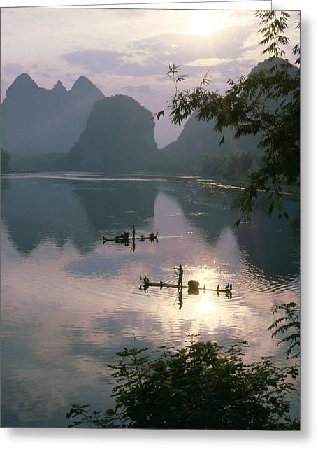 Li River At Dawn Greeting Card by King Wu