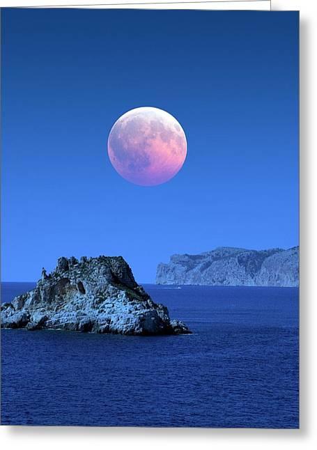 Lunar Eclipse Greeting Card by Detlev Van Ravenswaay