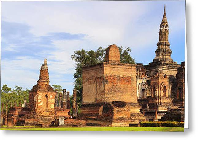 Main Buddha Statue In Sukhothai Historical Park Greeting Card by Anek Suwannaphoom