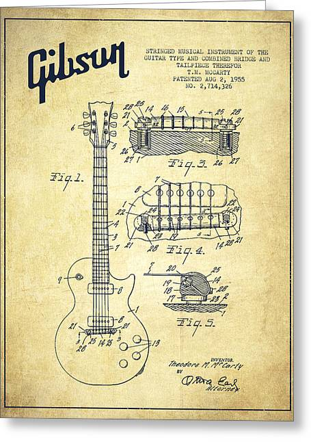 Mccarty Gibson Les Paul Guitar Patent Drawing From 1955 - Vintage Greeting Card