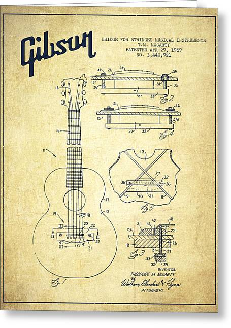 Mccarty Gibson Stringed Instrument Patent Drawing From 1969 - Vintage Greeting Card