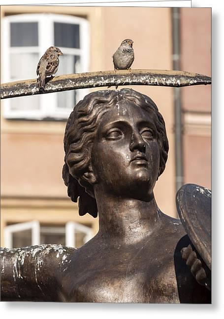 Mermaid Statue In Warsaw. Greeting Card