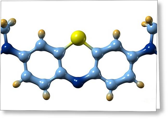 Methylene Blue, Molecular Model Greeting Card by Dr. Mark J. Winter