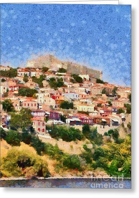 Molyvos Town In Lesvos Island Greeting Card by George Atsametakis