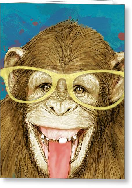 Monkey - Stylised Drawing Art Poster Greeting Card by Kim Wang