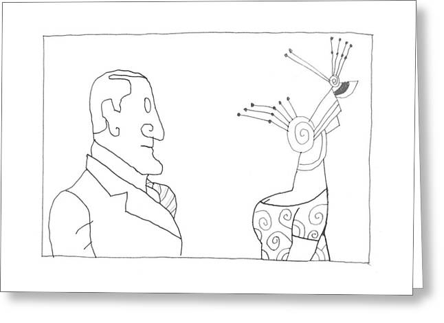 New Yorker February 20th, 1995 Greeting Card by Saul Steinberg