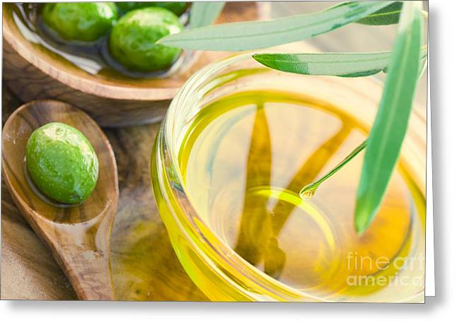 Olive Oil Greeting Card by Mythja  Photography