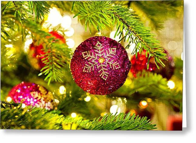 Ornament In A Christmas Tree Greeting Card by Ulrich Schade
