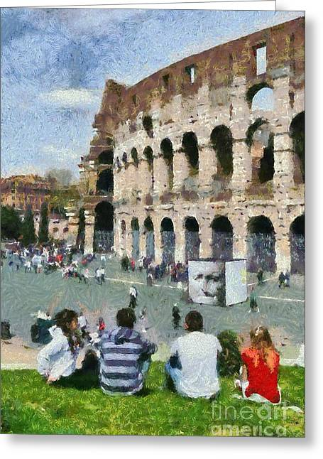 Outside Colosseum In Rome Greeting Card by George Atsametakis