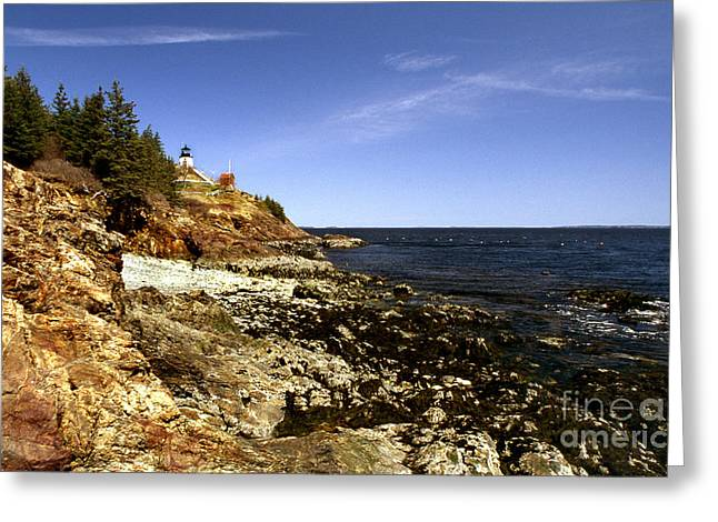 Owls Head Lighthouse Greeting Card by Skip Willits