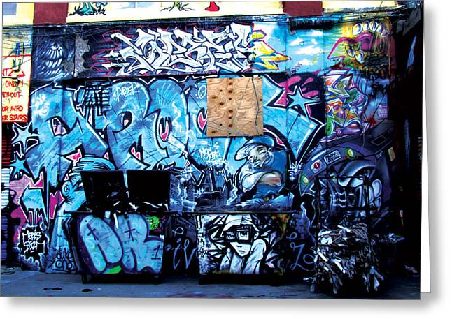 5 Pointz - Blue Greeting Card by Christina Cantero