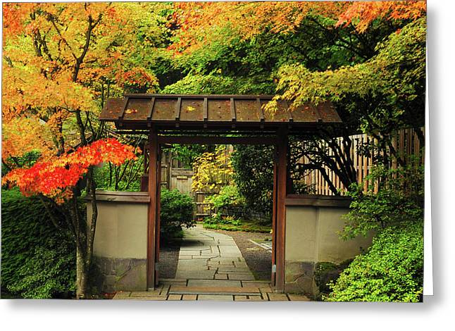 Portland Japanese Garden In Autumn Greeting Card by Michel Hersen