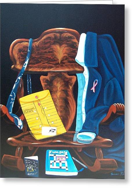 Greeting Card featuring the painting Retiring Postal Worker by Susan Roberts
