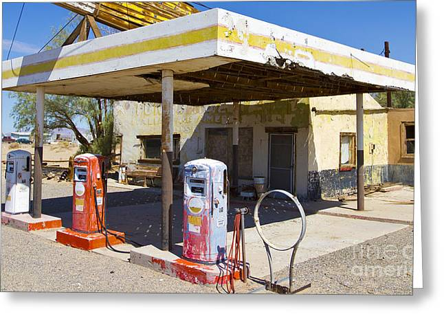 Route 66 Highway Signs Motels Gas Stations And Art Deco Architec Greeting Card