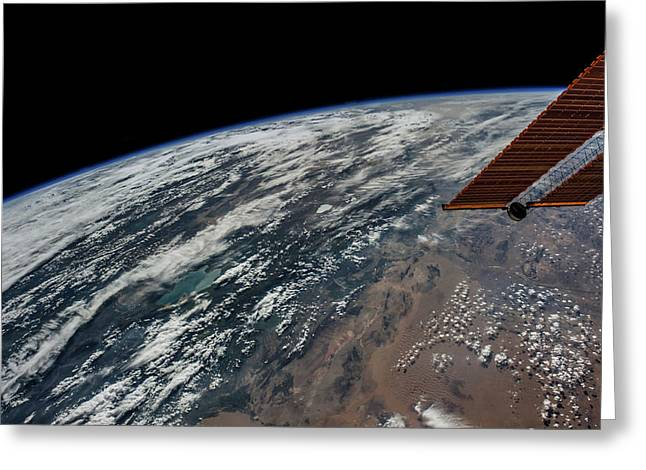 Satellite View Of Planet Earth Showing Greeting Card