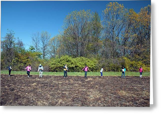 Schoolchildren Sowing Seeds Greeting Card by Jim West