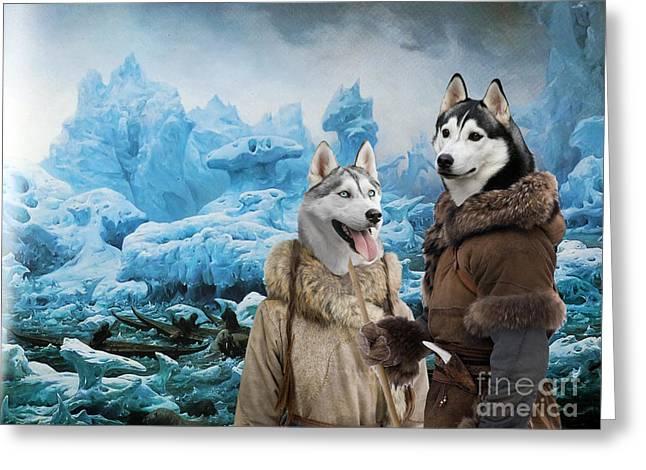 Siberian Husky Art Canvas Print  Greeting Card by Sandra Sij