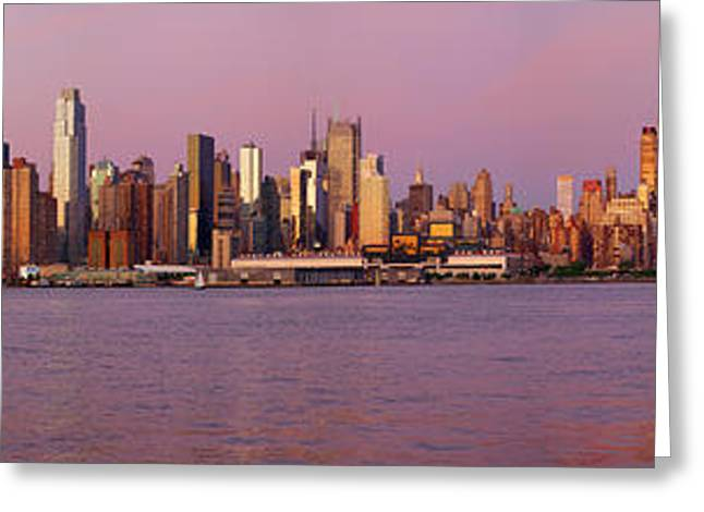 Skyscrapers At The Waterfront, Midtown Greeting Card by Panoramic Images