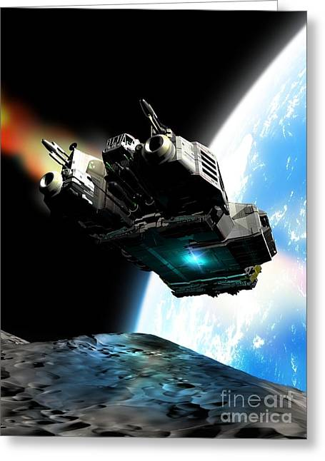 Space Exploration, Artwork Greeting Card by Victor Habbick Visions