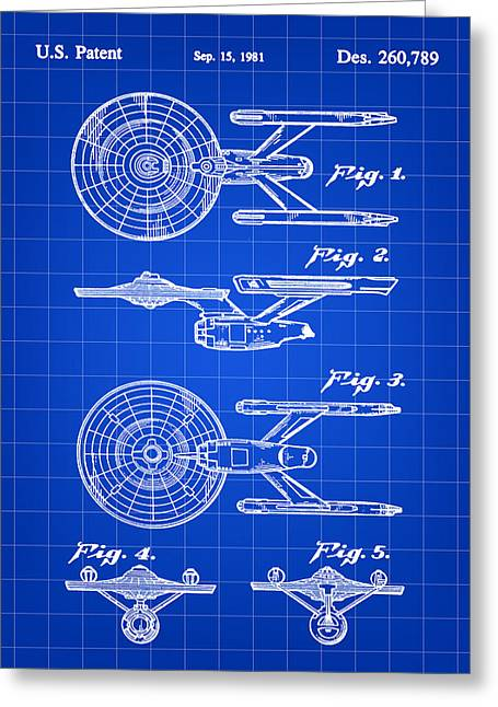 Star Trek Uss Enterprise Toy Patent 1981 - Blue Greeting Card by Stephen Younts