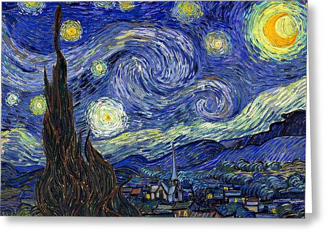 Greeting Card featuring the painting Starry Night  by Vincent Van Gogh