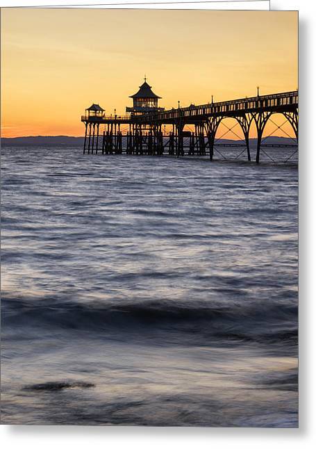 Stunning Landscape Image Of Old Pier Silhouette Against Vibrant  Greeting Card