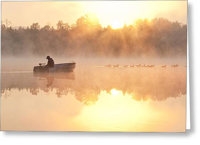 Sunrise In Fog Lake Cassidy With Fisherman In Small Fishing Boat Greeting Card