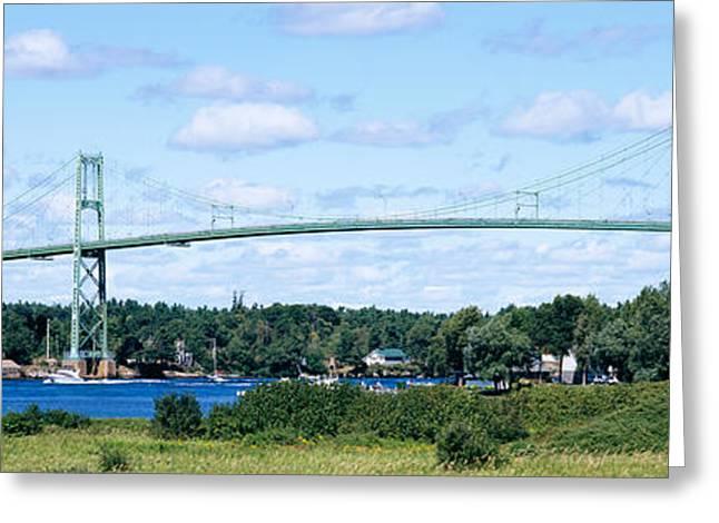 Suspension Bridge Across A River Greeting Card