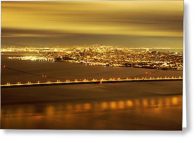 Suspension Bridge Lit Up At Dusk Greeting Card by Panoramic Images