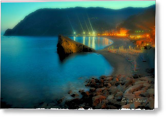 Greeting Card featuring the mixed media 5 Terre Monterosso Beach In Passeggiate A Levante by Enrico Pelos