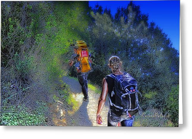 Greeting Card featuring the mixed media 5 Terre Monterosso Trekking In Passeggiate A Levante by Enrico Pelos