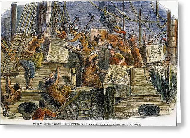The Boston Tea Party, 1773 Greeting Card by Granger