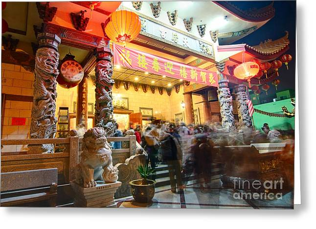 Thien Hau Temple A Taoist Temple In Chinatown Of Los Angeles. Greeting Card by Jamie Pham