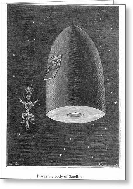 Verne Round The Moon Greeting Card by Granger
