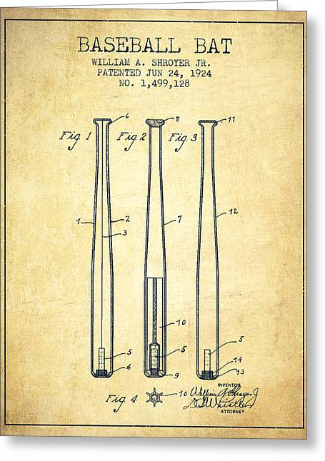 Vintage Baseball Bat Patent From 1924 Greeting Card