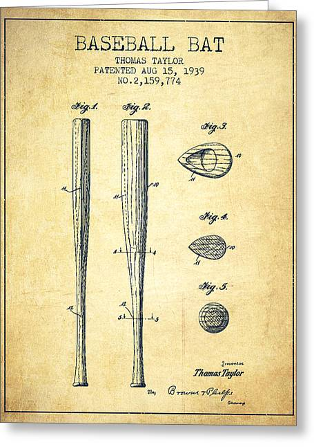 Vintage Baseball Bat Patent From 1939 Greeting Card by Aged Pixel