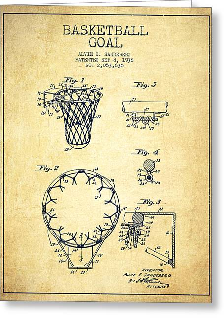 Vintage Basketball Goal Patent From 1936 Greeting Card
