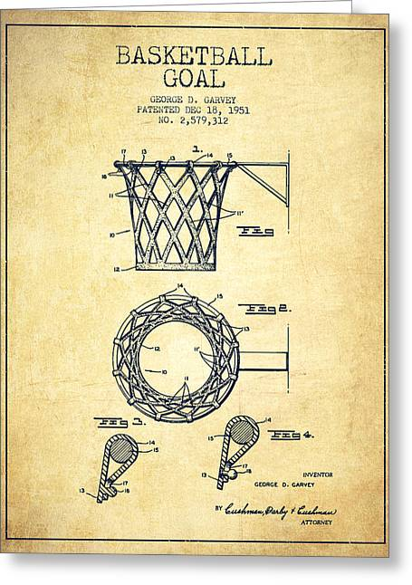 Vintage Basketball Goal Patent From 1951 Greeting Card