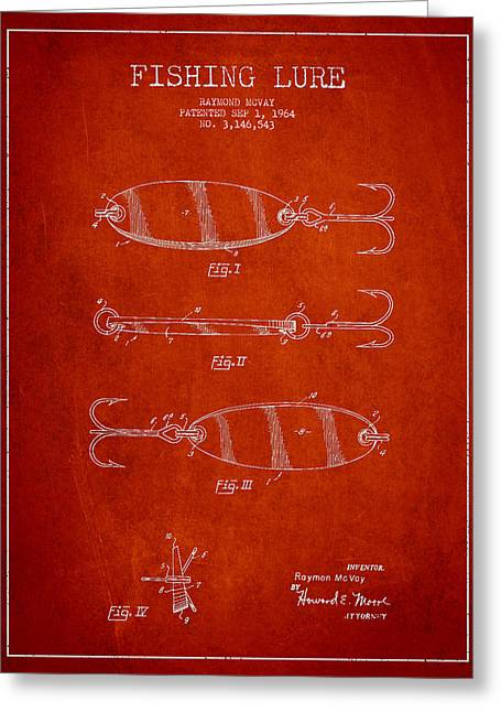 Vintage Fishing Lure Patent Drawing From 1964 Greeting Card