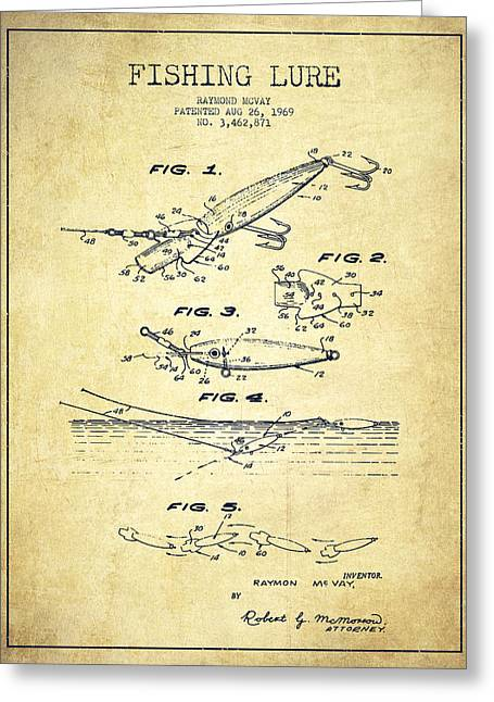 Vintage Fishing Lure Patent Drawing From 1969 Greeting Card by Aged Pixel