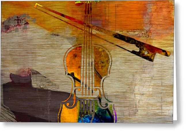 Violin And Bow Greeting Card by Marvin Blaine