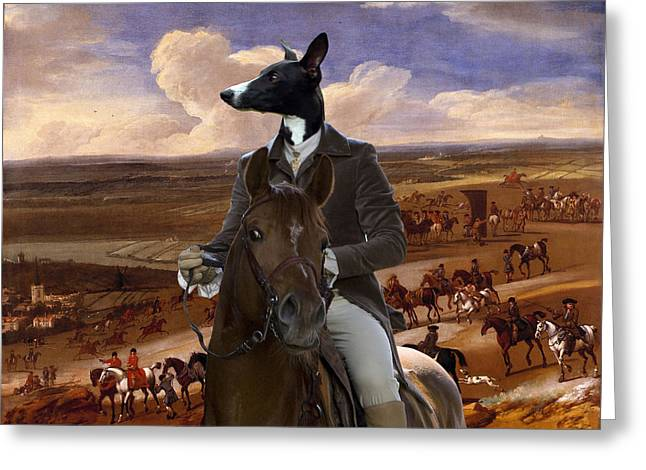 Whippet  Art Canvas Print Greeting Card