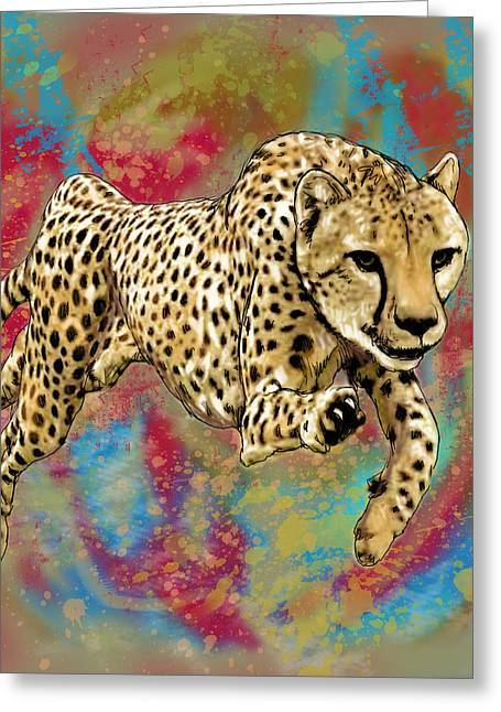 Wild Animal Stylised Pop Art Drawing Potrait Poser Greeting Card