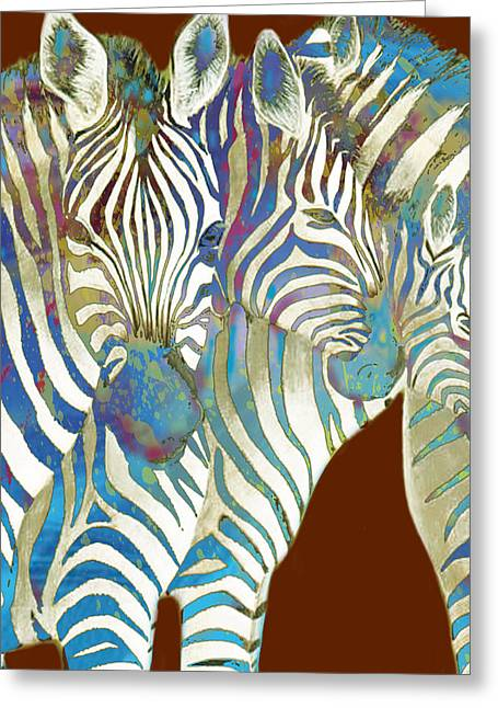 Zebra - Stylised Drawing Art Poster Greeting Card by Kim Wang