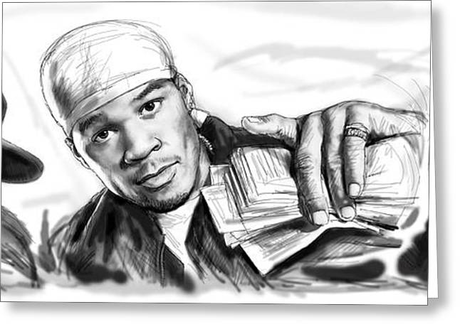 50 Cent Art Drawing Sketch Poster Greeting Card by Kim Wang