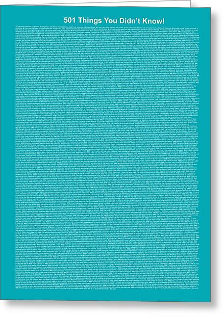 501 Things You Didn't Know - Blue Ocean Color Greeting Card by Pamela Johnson