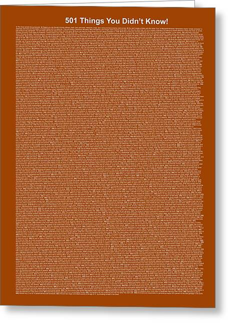 501 Things You Didn't Know - Brown Color Greeting Card