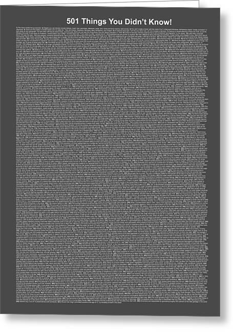 501 Things You Didn't Know - Gray Midnight Color Greeting Card